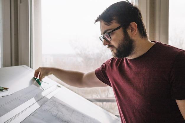 Arquiteto, fazer, desenhos técnicos