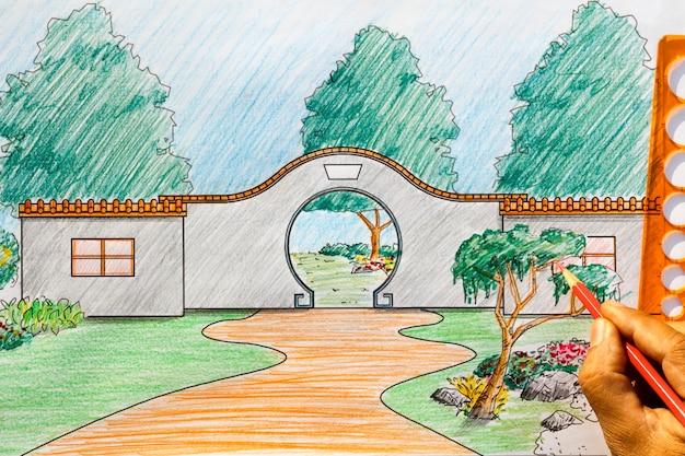 Arquiteto paisagista projeta planta de jardim chinês