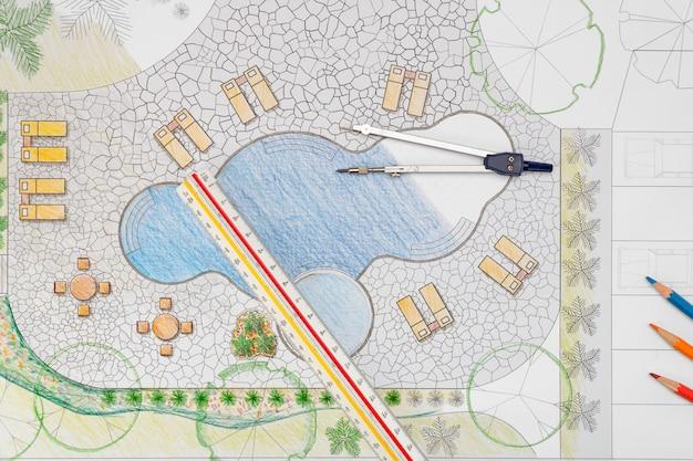 Arquiteto paisagista projeto quintal piscina plano para resort
