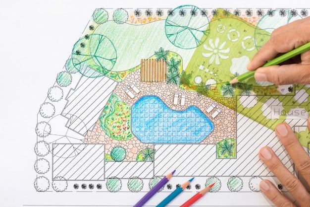 Arquiteto paisagista projeto quintal plano para villa