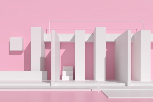 Arquitetura abstrata com escada em fundo rosa.