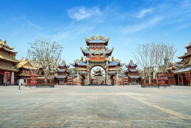 Arquitetura antiga de estilo chinês, hainan, china.