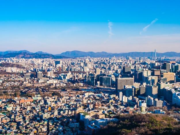Arquitetura bonita construção de paisagem urbana na cidade de seul