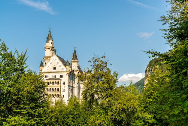 Arquitetura bonita no castelo de neuschwanstein nos alpes bávaros de alemanha.
