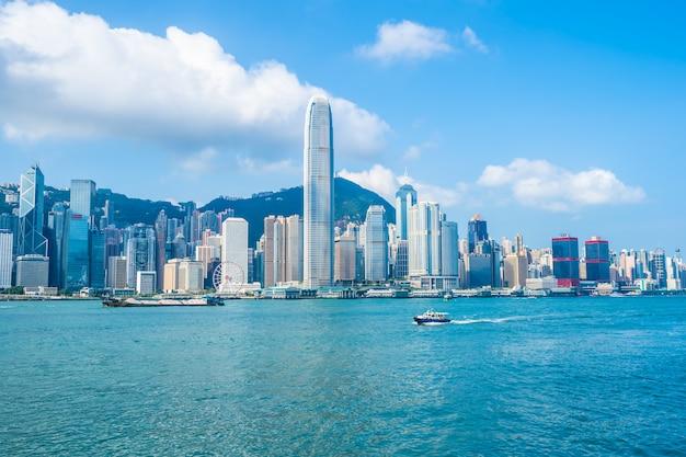 Arquitetura bonita que constrói a arquitectura da cidade exterior da skyline da cidade de hong kong