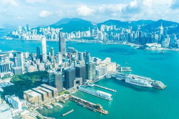 Arquitetura bonita que constrói a arquitetura da cidade exterior da skyline da cidade de hong kong