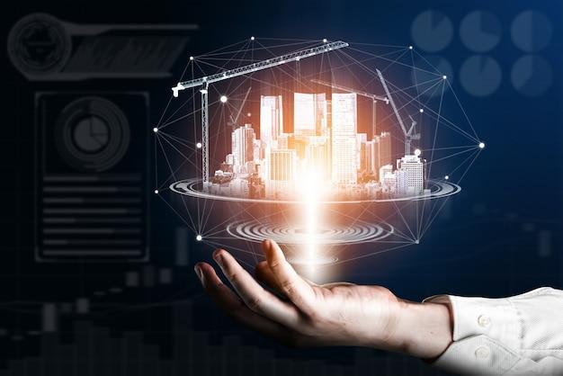 Arquitetura de construção inovadora e engenharia demonstradas por projetos de construção futuros.