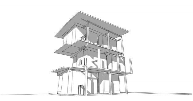 Arquitetura de contorno de perspectiva construindo ilustração 3d, arquitetura urbana moderna