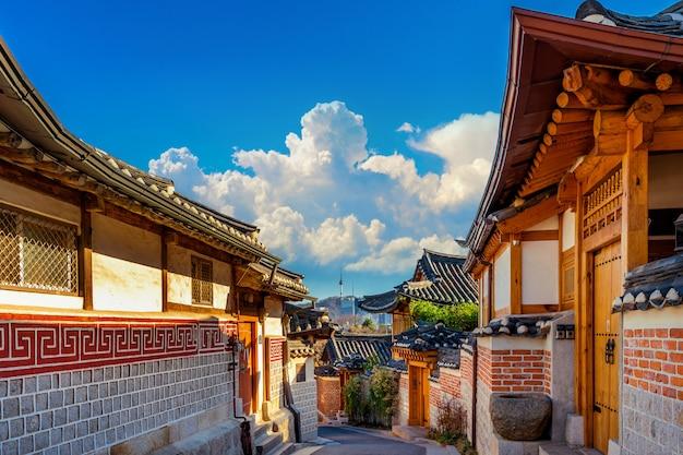 Arquitetura de estilo coreano tradicional em seul, coréia