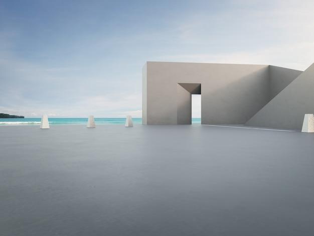 Arquitetura de forma geométrica e piso de concreto vazio para estacionamento