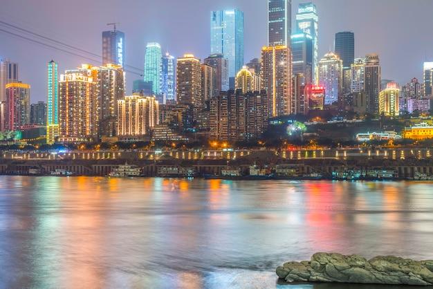 Arquitetura do por do sol construção metrópole moderna chinesa