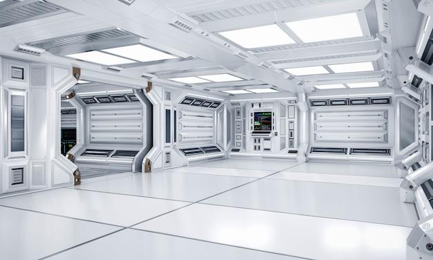 Arquitetura futurista sci-fi hall e corredor interior, renderização em 3d