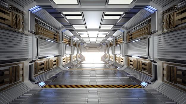 Arquitetura futurística sci-fi hall e corredor interior