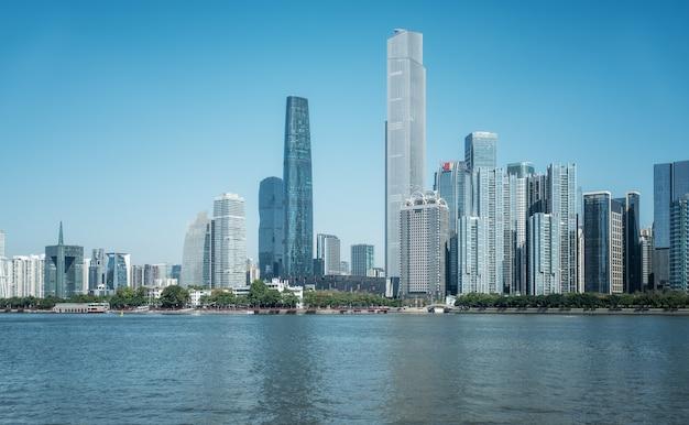 Arquitetura moderna da cidade de guangzhou horizonte de paisagem