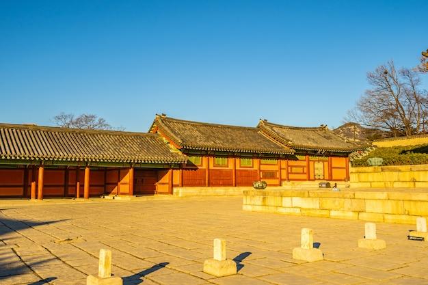 Arquitetura, predios, changdeokgung, palácio, em, seul, cidade