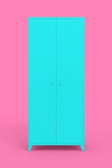 Arquivo azul no estilo duotone em um fundo rosa. renderização 3d