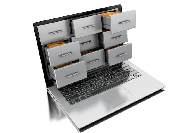 Arquivos 3d e pastas no laptop
