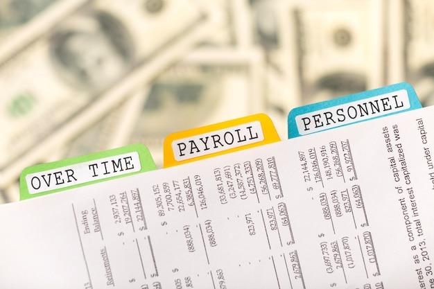 Arquivos de folha de pagamento e acordo de dinheiro