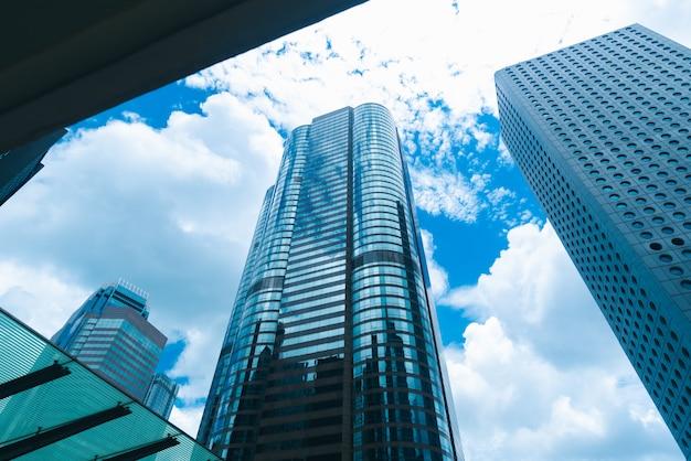 Arranha-céu em hong kong, vista da cidade no filtro azul