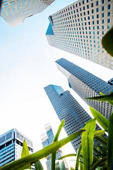 Arranha-céus comerciais modernos, arranha-céus, arquitetura elevando para o céu