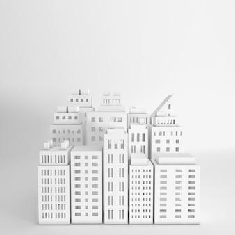 Arranha-céus de papel branco edifício arquitetônico em vista panorâmica