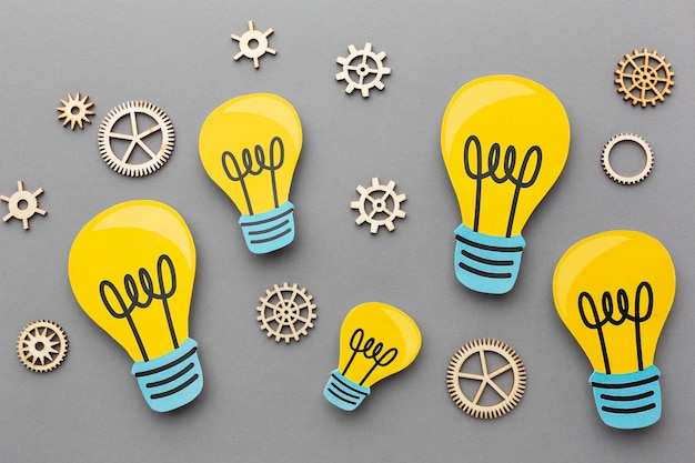 Arranjo abstrato plano com elementos de inovação