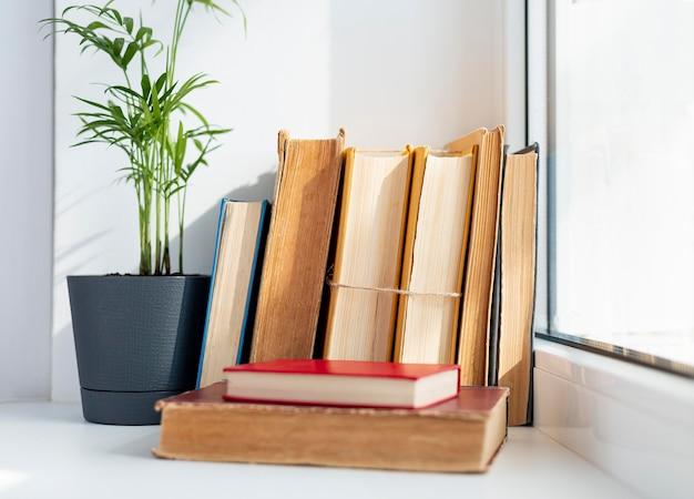 Arranjo com livros perto da janela