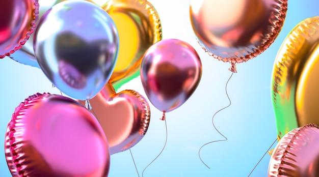 Arranjo de balões coloridos realistas