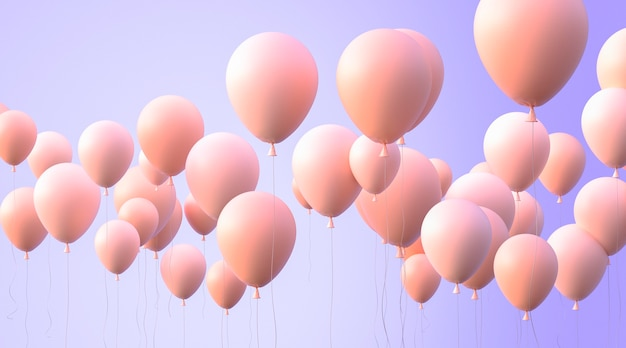 Arranjo de balões com fundo roxo