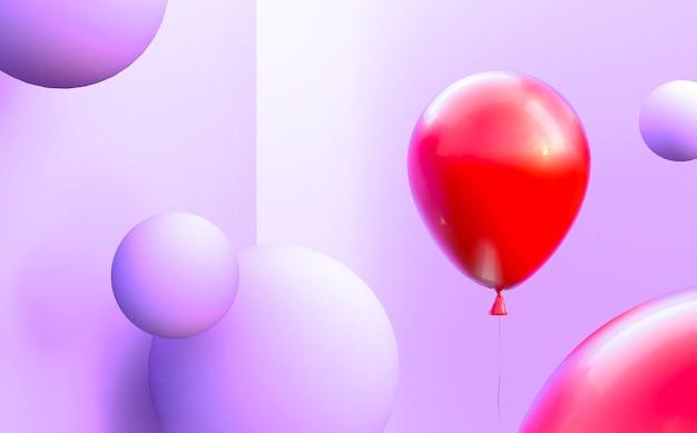 Arranjo de balões vermelhos e roxos