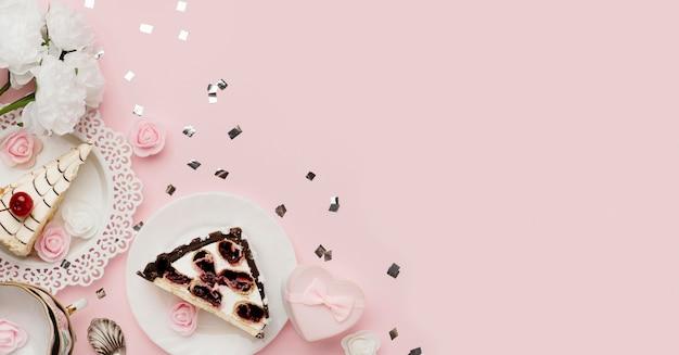 Arranjo de bolo delicioso de vista de cima