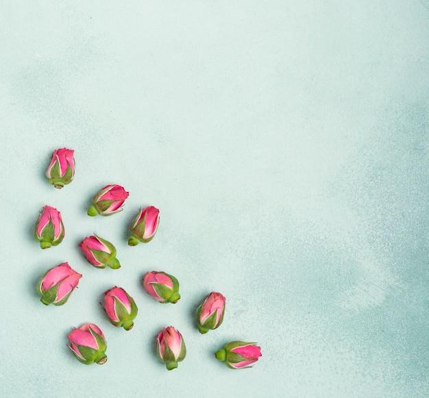 Arranjo de botões de flores com espaço para texto