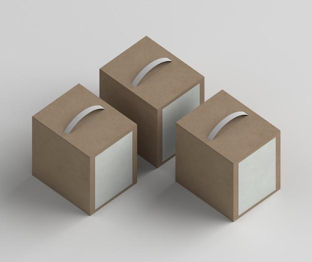 Arranjo de caixas de produtos de alto ângulo