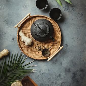 Arranjo de cerimônia de chá asiática tradicional, plana leigos