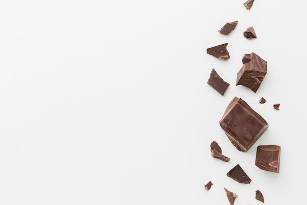 Arranjo de chocolate com espaço de cópia