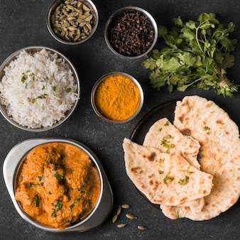 Arranjo de comida indiana plana
