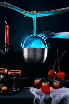 Arranjo de comida para festa de halloween