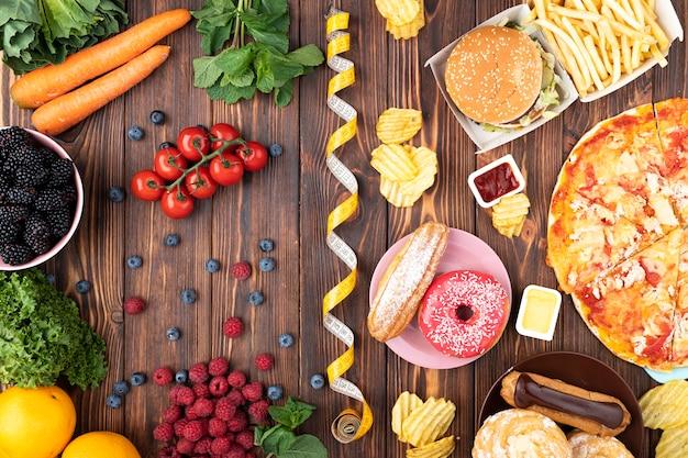 Arranjo de comida saudável e rápida