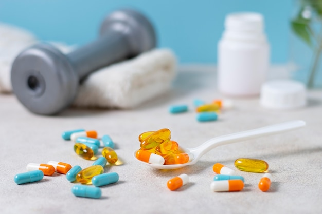 Arranjo de comprimidos com colher