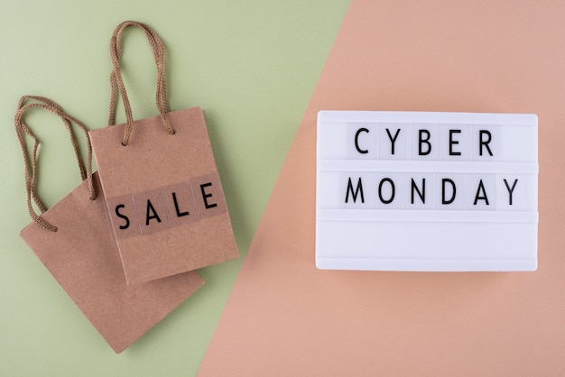Arranjo de cyber segunda-feira vista de cima