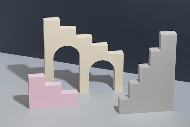 Arranjo de elementos abstratos de design 3d