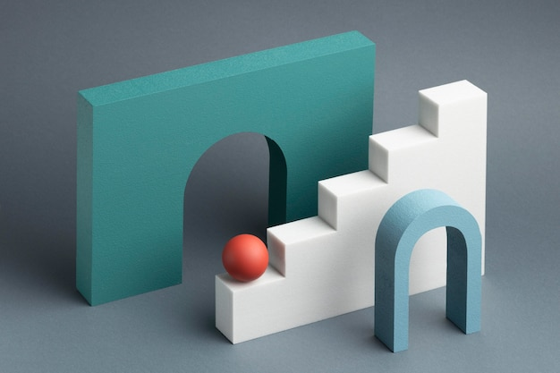 Arranjo de elementos de design 3d abstrato