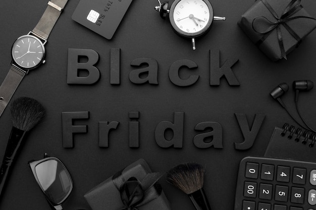 Arranjo de elementos de vendas da black friday
