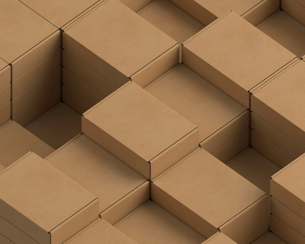 Arranjo de embalagens de papelão