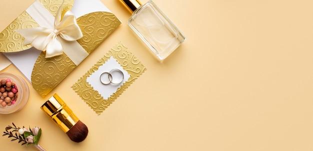 Arranjo de espaço de cópia do conceito de casamento de noiva