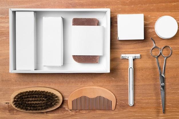 Arranjo de ferramentas de preparação de barbearia
