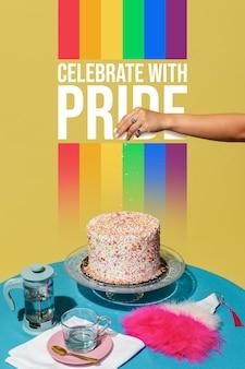 Arranjo de festa do dia do orgulho mundial com bolo