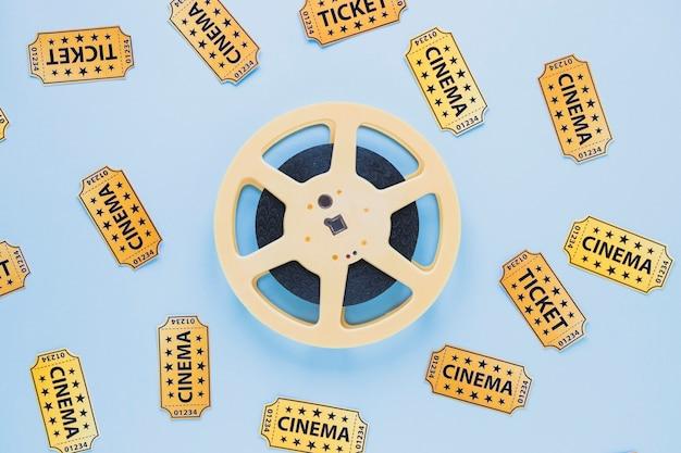 Arranjo de filmstrip e tickets
