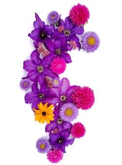Arranjo de flores de ásteres e girassóis