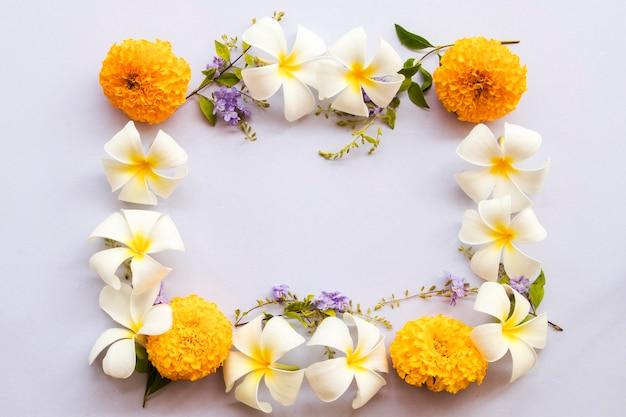 Arranjo de flores de frangipani calêndula em estilo de cartão postal